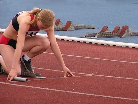 Athlete focusing on her goals before the start of a race
