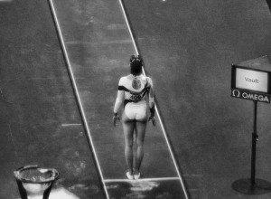 Gymnast focusing before vault