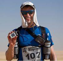 Sébastien showing off his pump at the Sahara Race